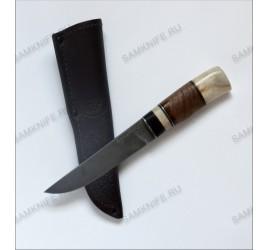 Авторский нож ручной работы (булат, черное дерево, рог, серебро, корень ореха, нержавейка)