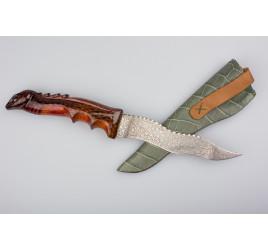 Самодельный нож ручной ковки с художественным нанесением, сталь ХВ5, рук. дерево, ножны из кожи