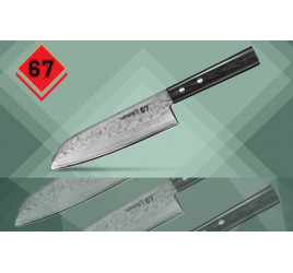 "SD67-0094 Нож кухонный ""Samura 67 Damascus"" сантоку, дамаск 67 слоев, 175 мм, 61 HRC, деревянная рукоятка"
