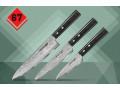 """SD67-0220 Набор из 3-х кухонных ножей """"Samura 67 Damascus"""" овощной, универсальный и шеф, дамаск 67 слоев, 61 HRC, деревянная рукоятка"""